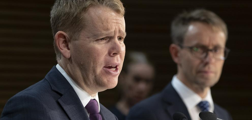 Health Minister Chris Hipkins (left) and director-general of health Ashley Bloomfield during a...