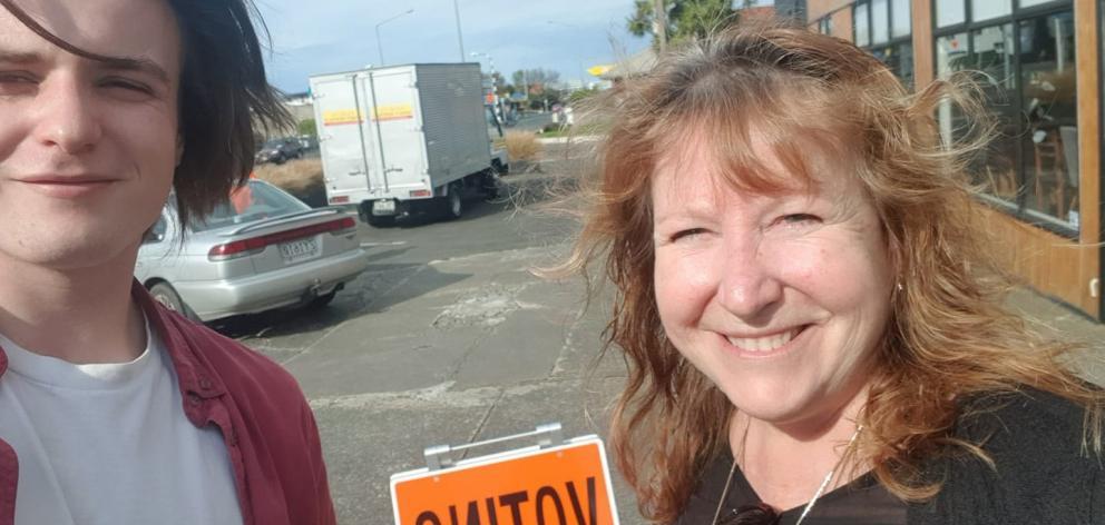 Clare Curran and son Callum vote in the Taieri electorate. PHOTOS: FACEBOOK