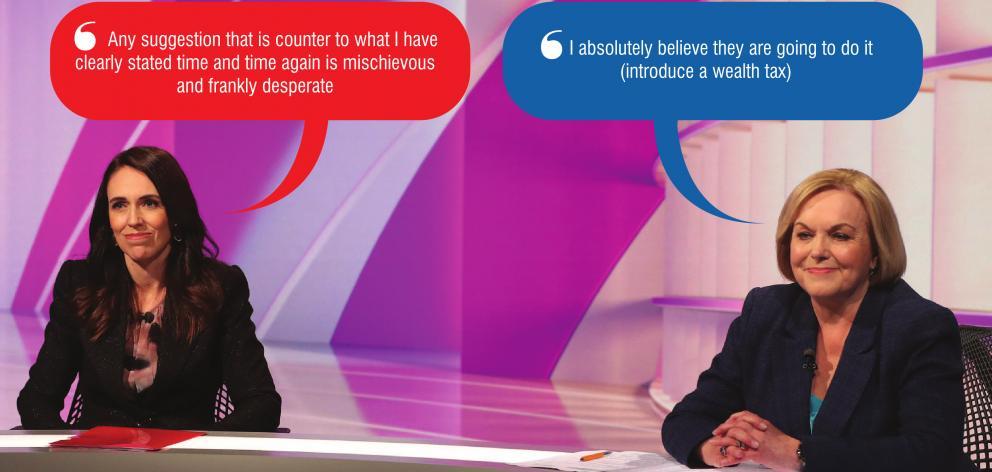 Labour leader Jacinda Ardern and National leader Judith Collins in the TVNZ leaders' debate in...