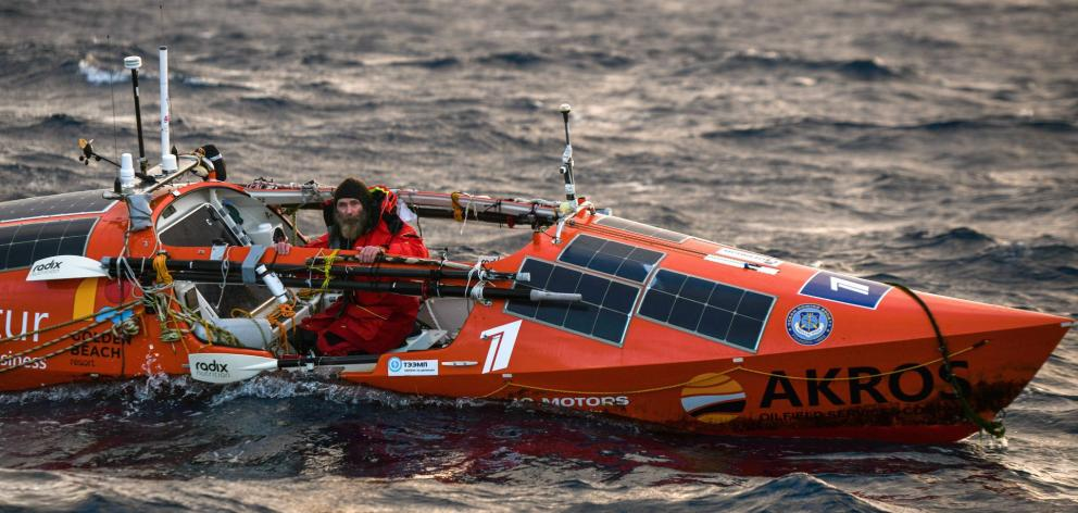 Transpacific rower Fedor Konyukhov nears the end of his journey. PHOTO: SUPPLIED