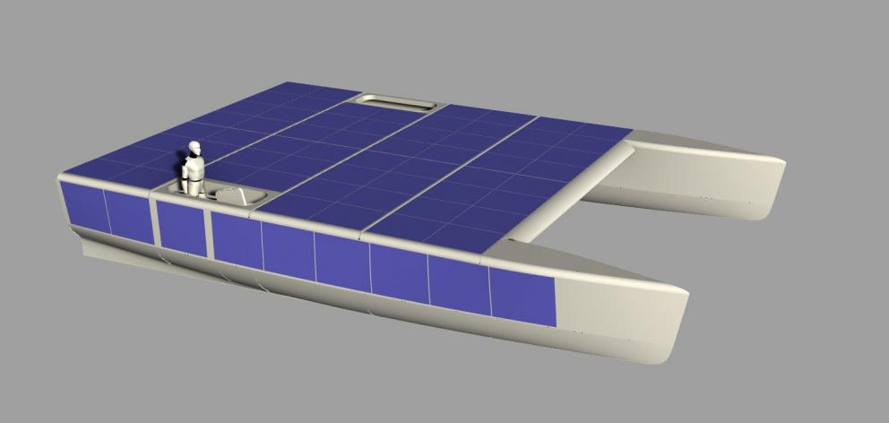 A digital model of Nova, a solar- powered catamaran that Mr Konyukhov will sail solo. IMAGE:...