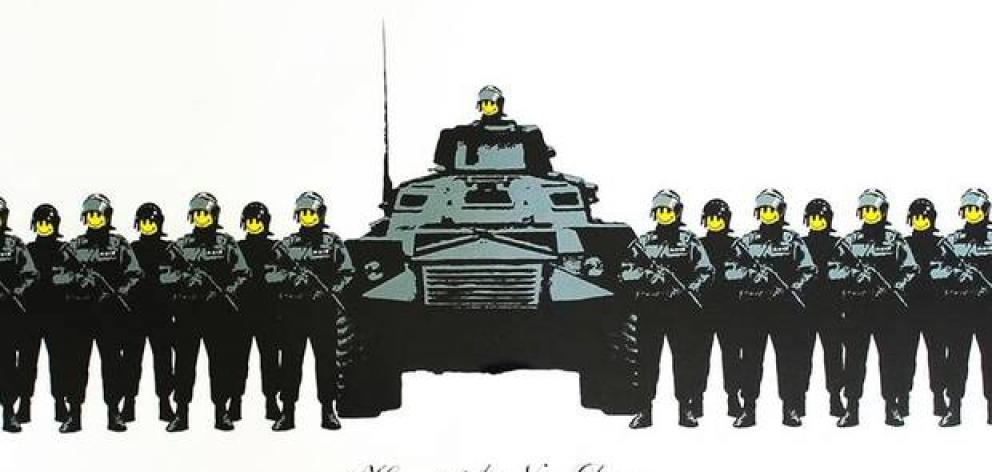 The iconic military-themed Banksy screen print went for a record $126,000 at auction in Auckland last night. Image / Supplied