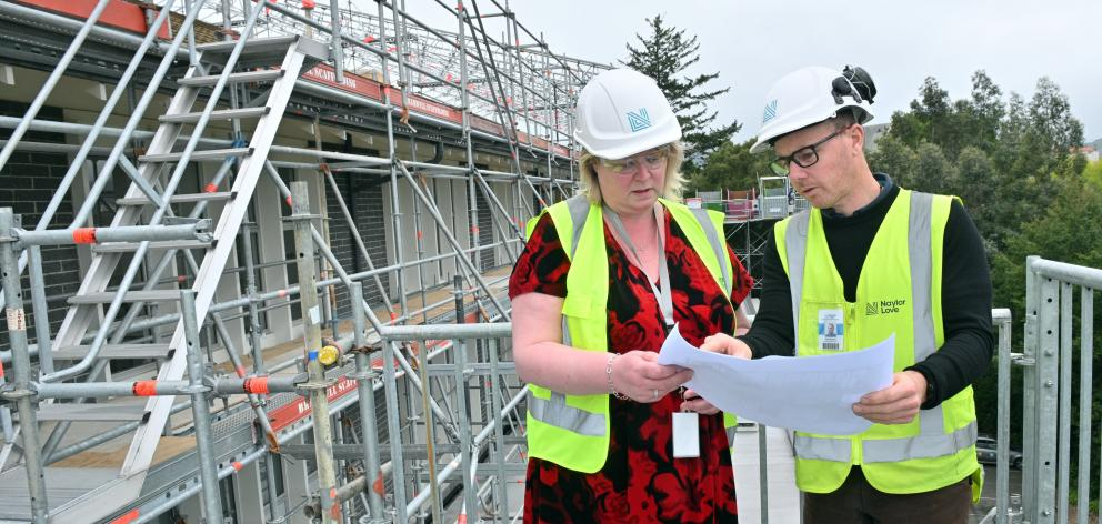 Mercy Hospital support services manager Jackie Wilde and Naylor Love Construction project manager...
