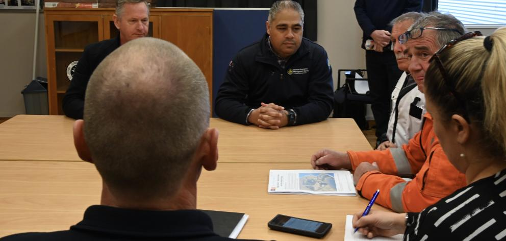 Civil Defence Minister Hon Peeni Henare meets with Civil Defence staff and firefighters. Photo:...