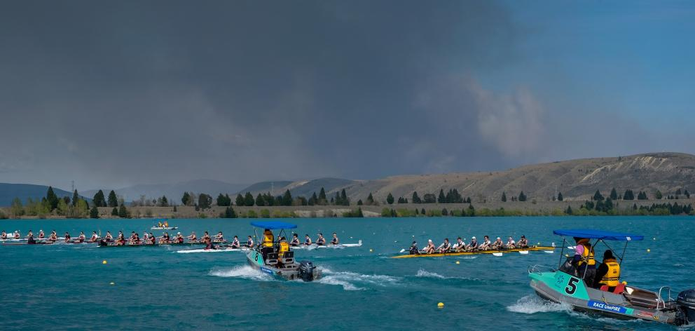 Crews line up to compete at the Mainland Interprovincial Rowing Championships at Lake Ruataniwha...