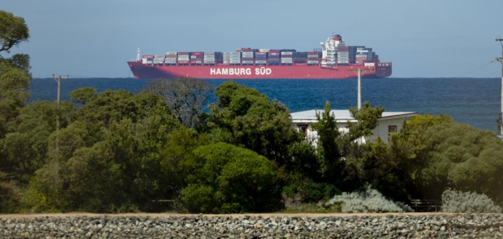 Rio Madeira at anchor off Karitane yesterday. PHOTO: GERARD O'BRIEN
