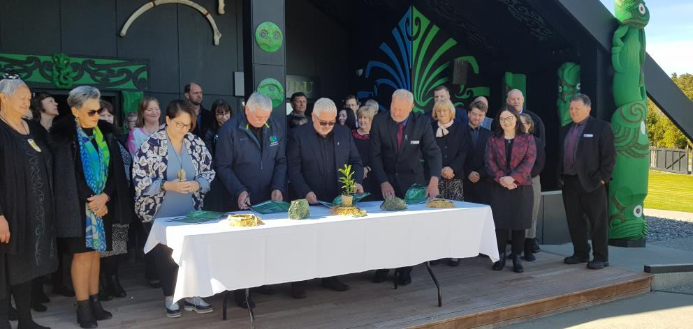 The documents were signed at Arahura Marae yesterday. Photo: Lois Williams