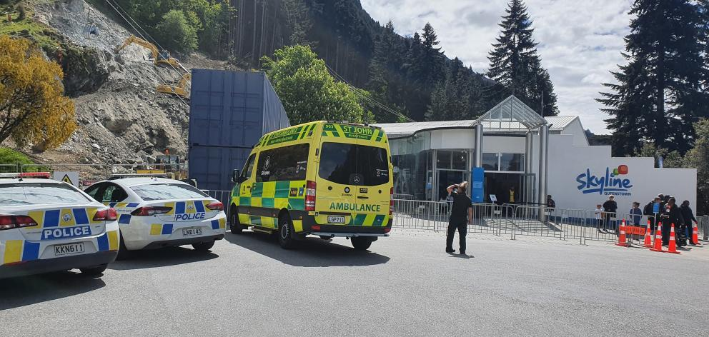 Emergency services at the scene near the Skyline gondola. Photo: Matthew Mckew