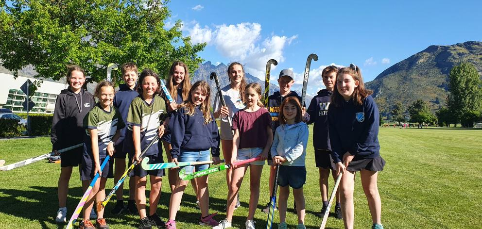Young members of the Wakatipu Hockey Club are thrilled they are getting a Queenstown pitch. PHOTO...