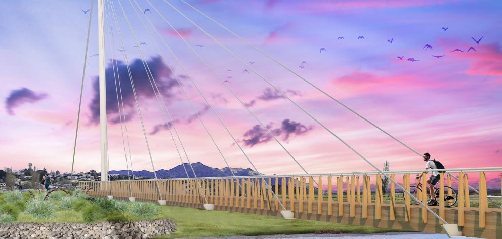 A view of the proposed cable-stay bridge over the Mataura River in Gore. PHOTO: SUPPLIED