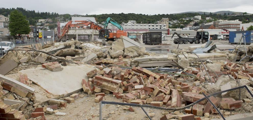 Demolition work has continued in St Andrew St, Dunedin, clearing the way for Dunedin's new...