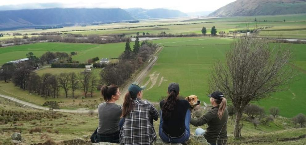 Laura Douglas and friends overlooking the Fairlight Station homestead. Photo: Supplied