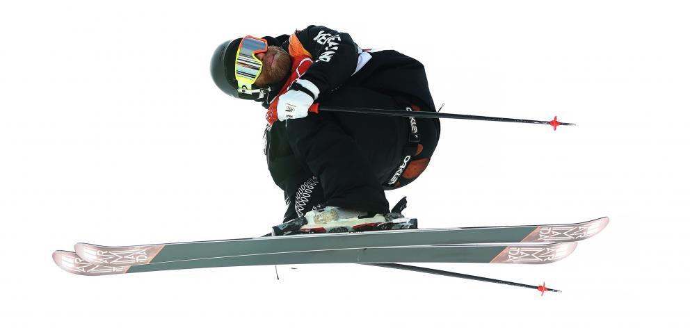 Byron Wells warms up before the men's ski halfpipe at Phoenix Snow Park at Pyeongchang-gun, South...