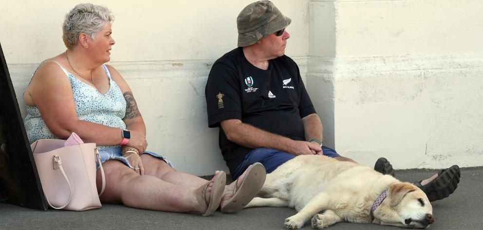 Stephanie and Jason Jeffs, of Christchurch, have a break in the shade with their sleeping dog...