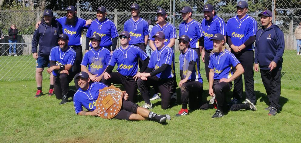 The victorious Otago men's softball team of (back row from left) Lyall Scott (assistant coach),...