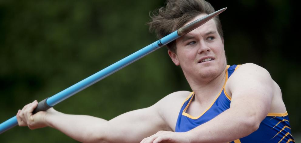 Taieri javelin thrower Anton Schroder looks to throw at the Caledonian Ground on Saturday. PHOTO:...