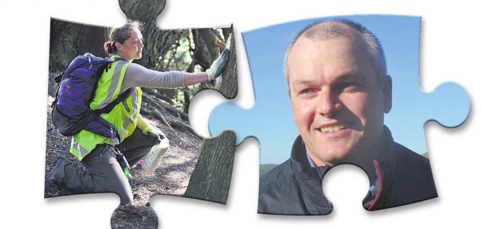 Otago Peninsula Biodiversity Trust founding member Brendon Cross. Left: Kate Tanner sets a trap...