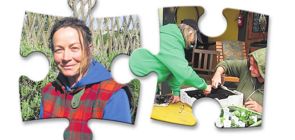 Waitaki Community Gardens site and volunteer co-ordinator Ra McRostie. Right: Volunteers repot...