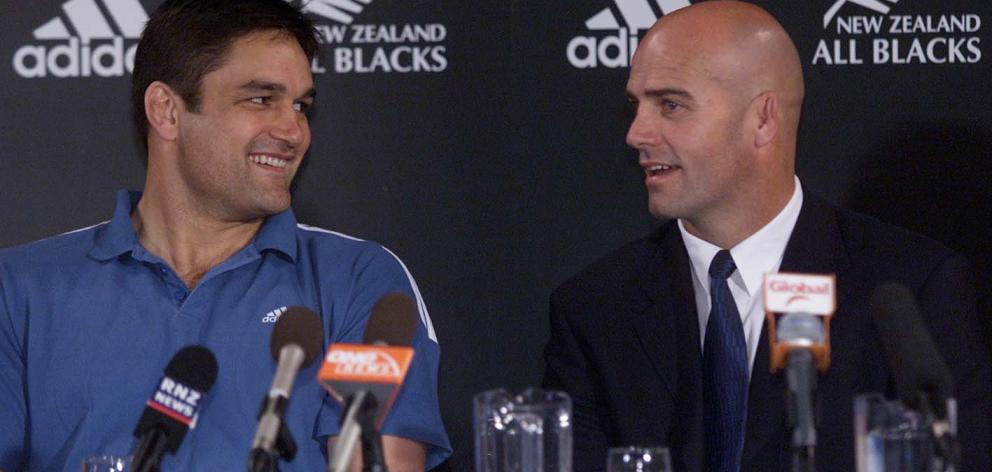 Newly appointed All Blacks captain Taine Randell in 2002, with All Blacks coach John Mitchell. Photo: NZ Herald
