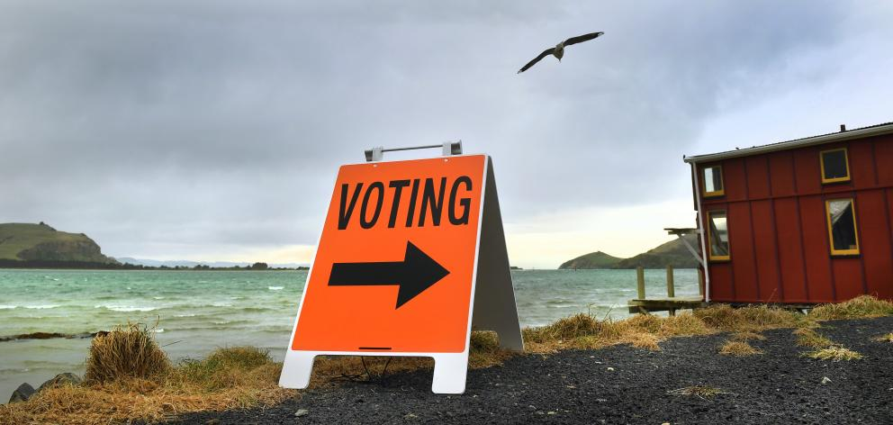 Perhaps the most picturesque polling booth in New Zealand, the Te Runanga o Otakou building on...