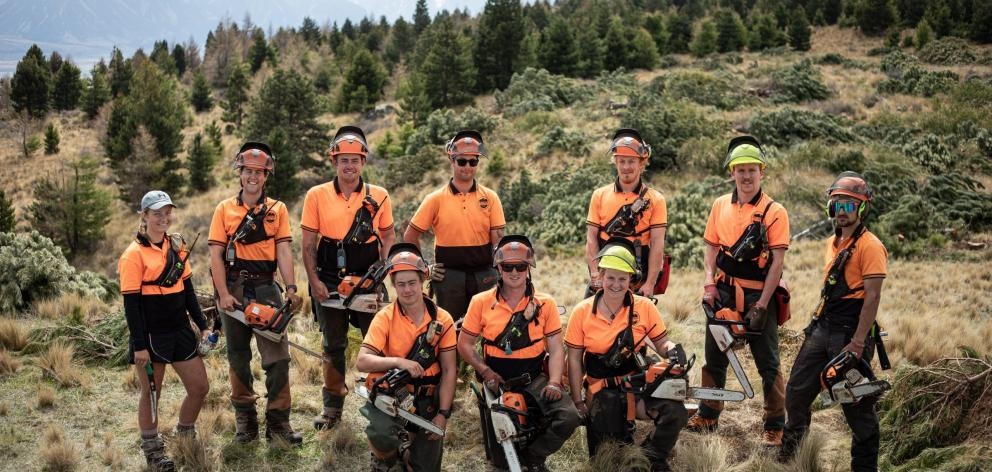 High Country Contracting wilding conifer team members (from left) Libby Cassie, Lockie Hann, Charlie Clarke, Jacob Nicholson, Daniel Johnstone, Logan Lory, Maia Nixon, Rob Lord, Ben Richards and Adam Cone are set to chop down wilding pines for a good caus