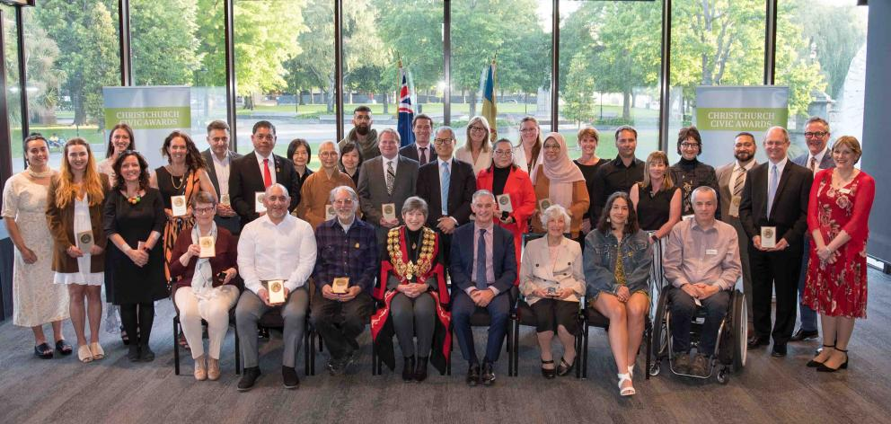 The recipients with the Civic Awards. Photo: Newsline