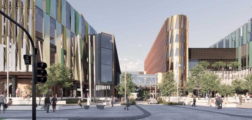 A concept design image for the new Dunedin Hospital buildings. The design continues to be refined...