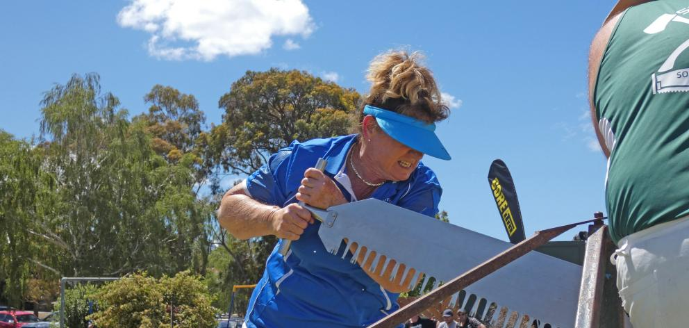 Sheree Taylor competes in the single-handed women's sawing event in Cromwell on Sunday.