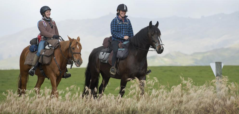 Kirsty Mann and Tosca (left) and Tsarina Dellow and Zulu navigate their way along the Otago...