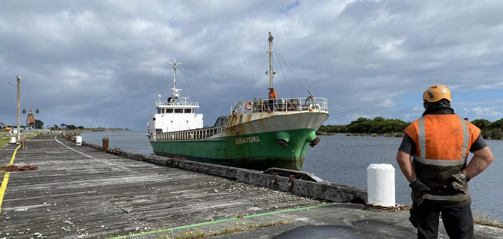 The Anatoki left the Greymouth wharf yesterday morning with 800 tonnes of gravel destined for...