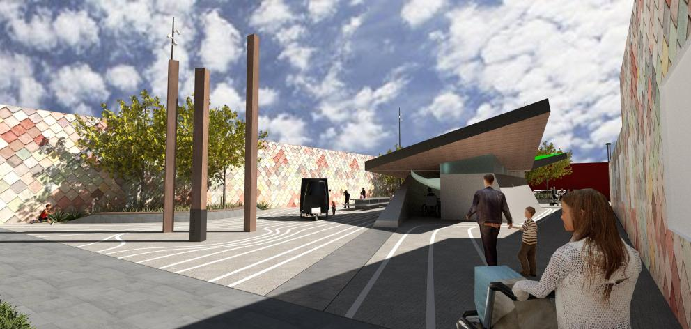An artist's impression of the proposed design for new destination toilets in Clyde St, Balclutha....