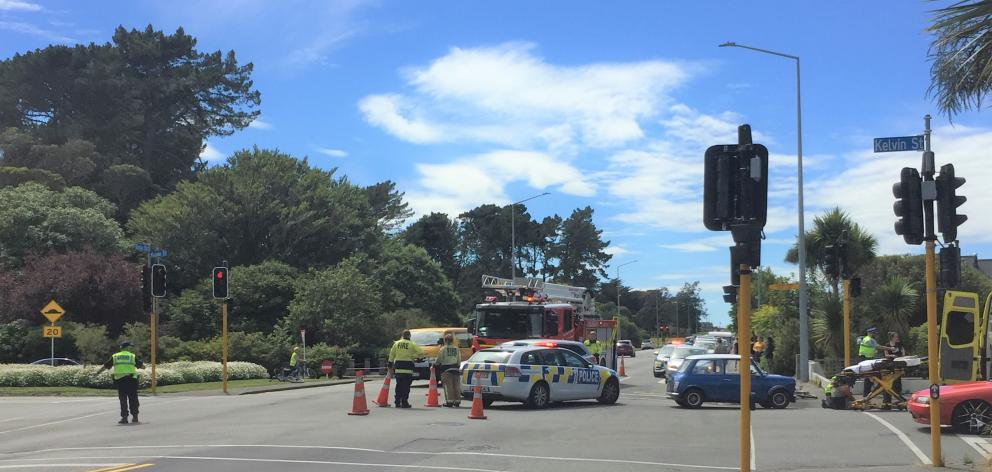 The incident occurred at about 11.40am on the corner of Gala and Kelvin Sts. Photo: Abbey Palmer