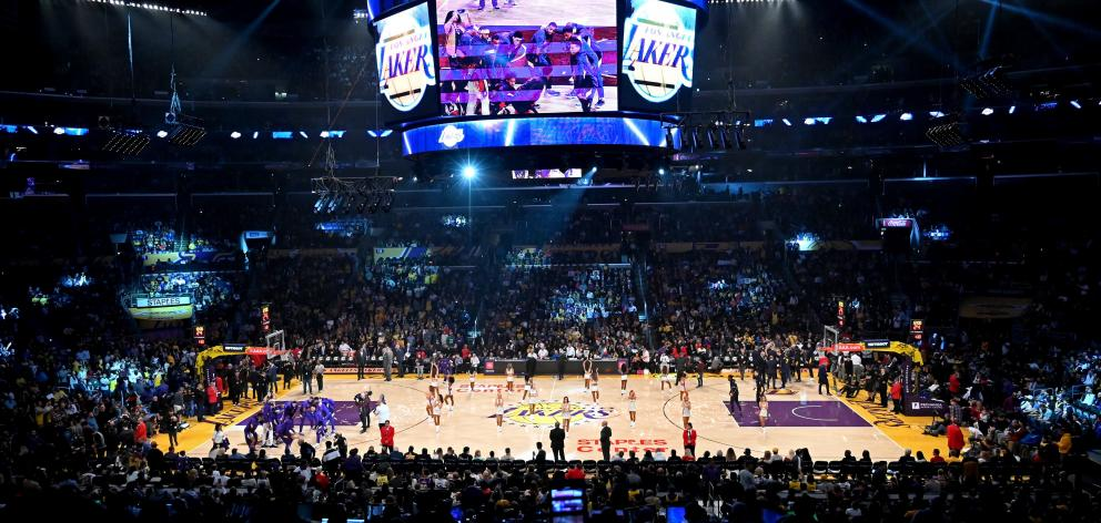 The Staples Center in full buzz before the Los Angeles Lakers take the court.