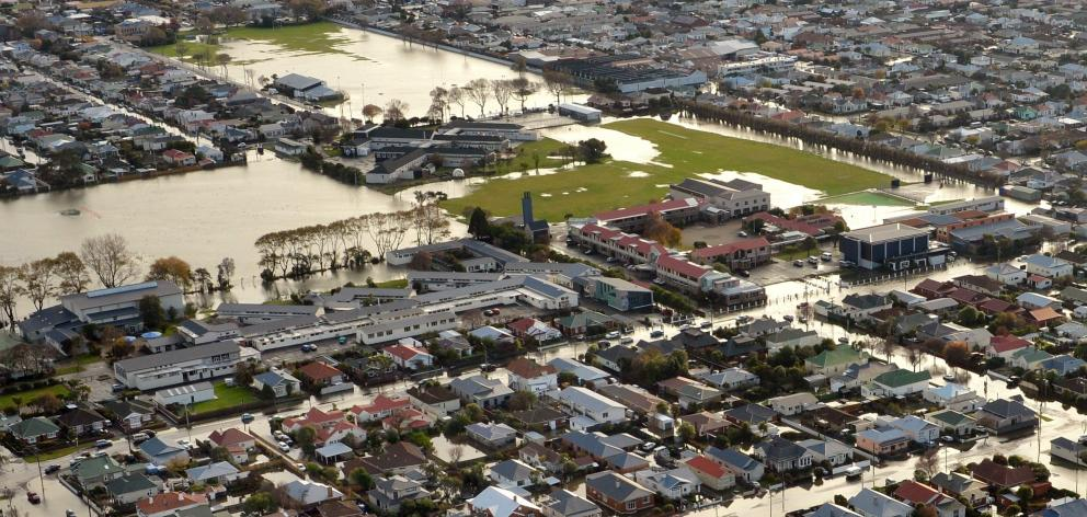 The grounds of Queen's High School, King's High School and Tonga Park are inundated during the...