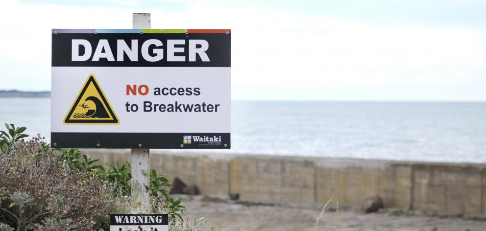 Oamaru breakwater has new signs indicating no public access. PHOTO: KAYLA HODGE