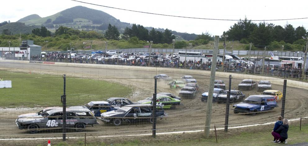 Cars hurtle round a bend during a Heat 1 Qualifiers Cleanways Group event at Beachlands Speedway,...
