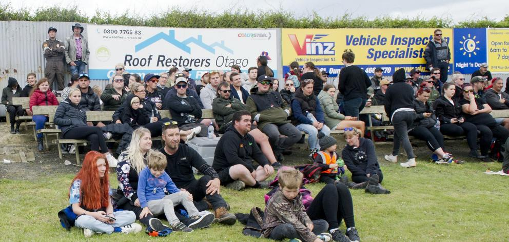 Some of the growing crowd at yesterday's Beachlands Speedway race meeting.