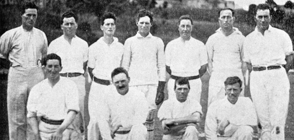 Tapanui team in Dunedin for Country Cricket Week (standing, from left) F. Spittle, P. Boylen, H....
