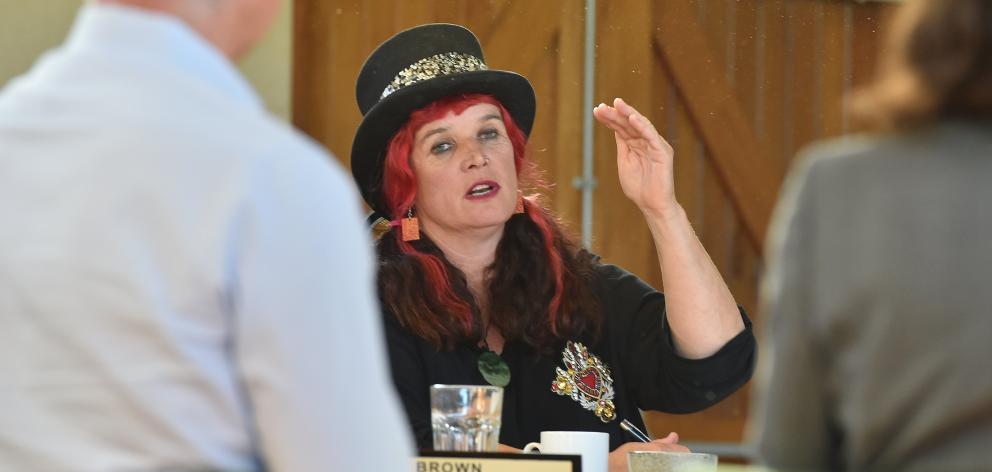 Waikouaiti Coast Community Board member Mandy Mayhem-Bullock asks questions of officials at a...