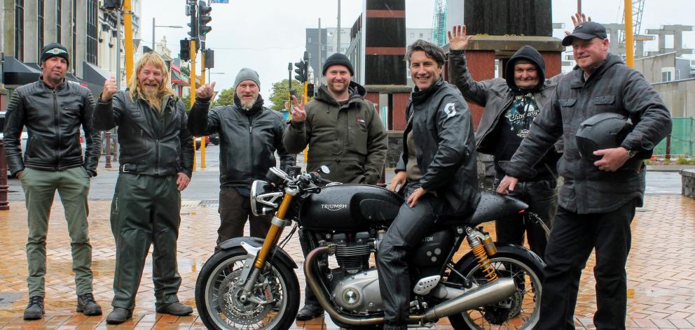 Motorcyclists (from left) John Dyksma, Dan Lane, Brett Ripley, Owen Ripley, Deane Briggs, James...