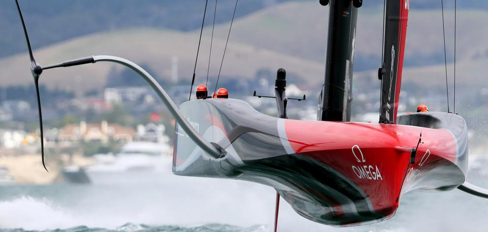 Team New Zealand in action during America's Cup racing on Wednesday. PHOTOS REUTERS