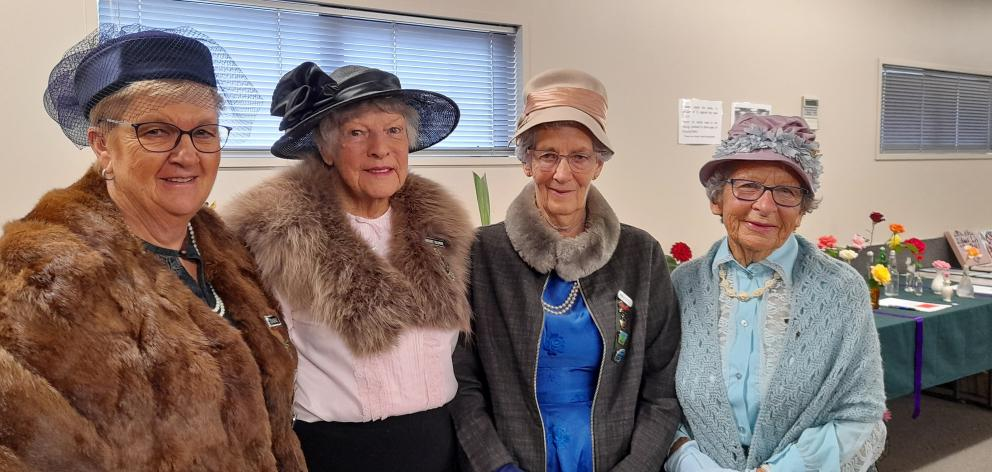 Wakanui WI's Dianne Carter (left) and Margaret Cullimore, and Netherby WI's Joan Henderson and...