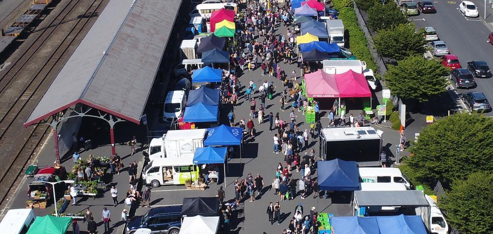 A bird's eye view of the market during Alert Level 1. Photo: ODT files.