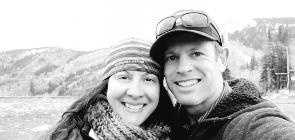 Skye Deutschbein and her husband Nathan, who was killed by an avalanche near Mt Cook. Photo / Supplied