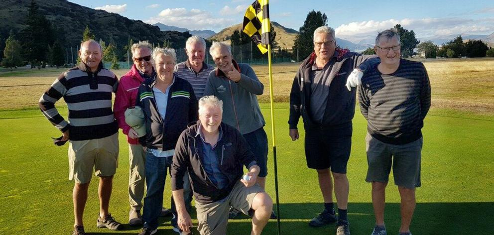 Celebrating a hole-in-one by Tom Butters (front) last Wednesday are Frankton Masters players ...