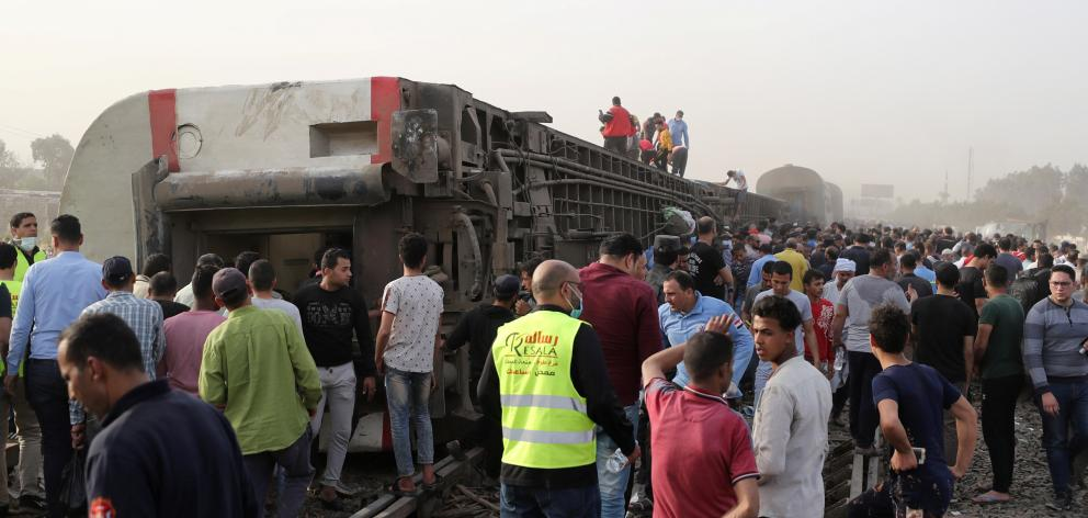 Train derails in Egypt in Qalioubia province, north of Cairo. Photo: Reuters