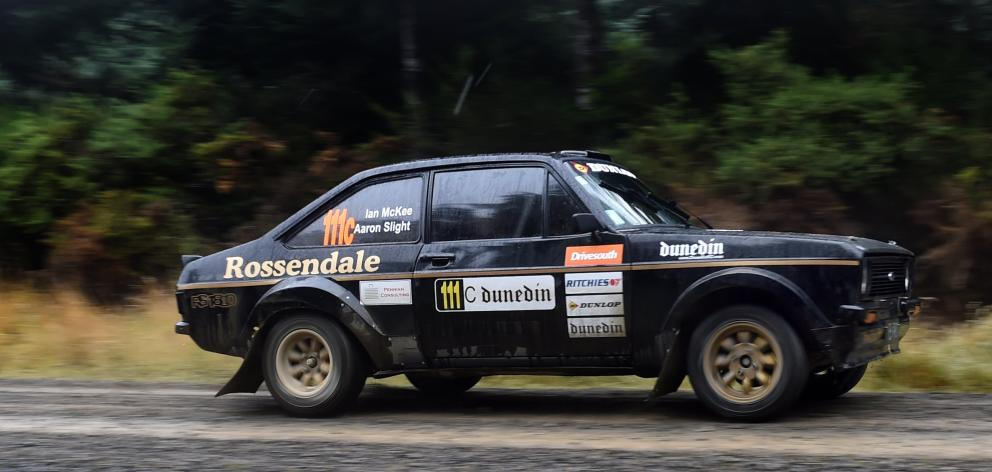 Aaron Slight powers the Rossendale Ford Escort BDA away from the start line. PHOTO: PETER MCINTOSH