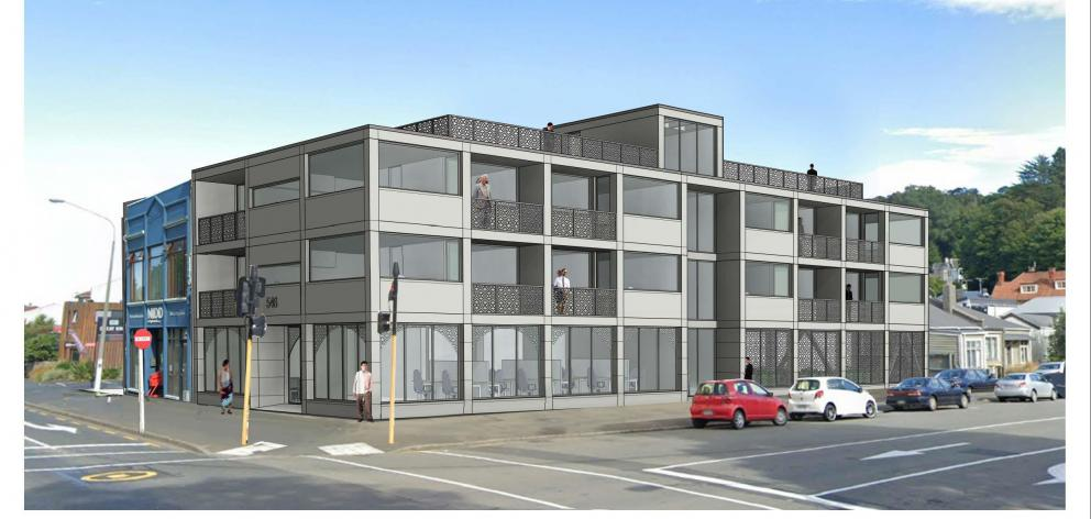 An artist's impression, included in a demolition consent application, of a proposed new apartment...