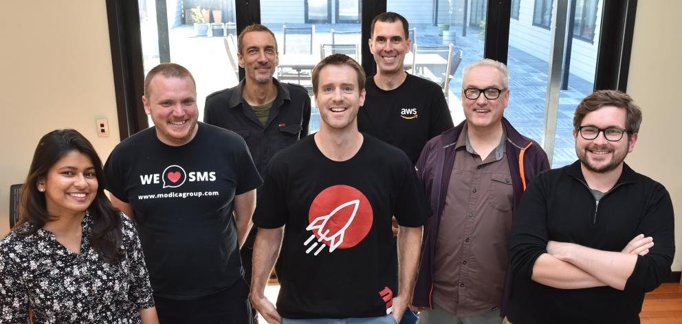 Modica's Dunedin-based team Neeta Mhatre (left), Mark Goldfinch, Emmanuel Delaborde, Gavin...