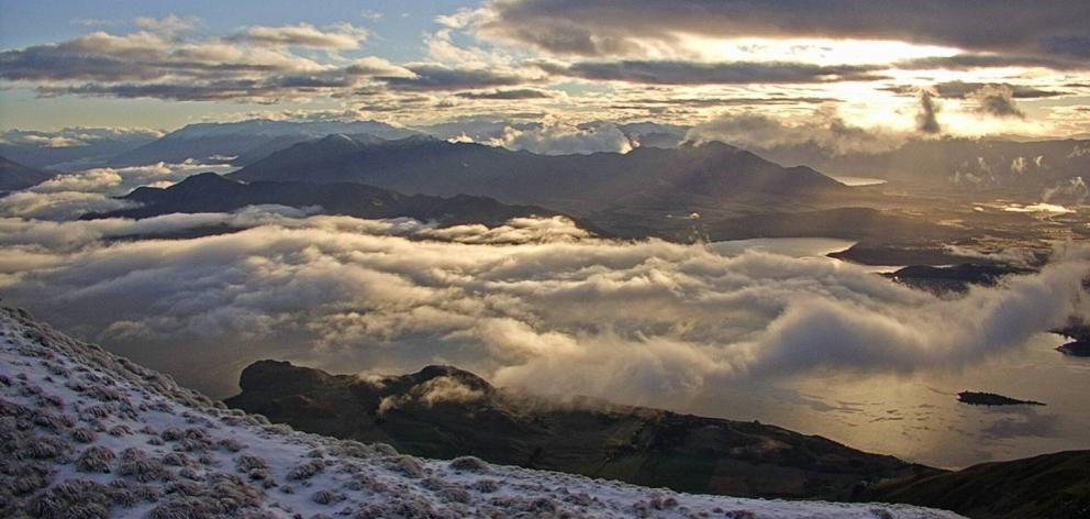 Mt Roy looking over Lake Wanaka on Tuesday morning. Photo: Supplied